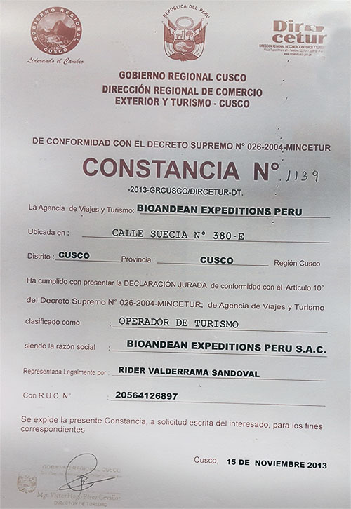 Dircetur Licenced Bioandean Expeditions