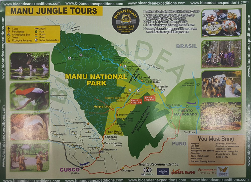 Manu Jungle Tour Map