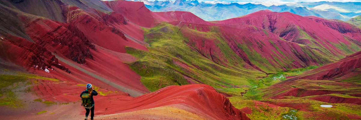 red valley at the Rainbow Mountain Peru Trek